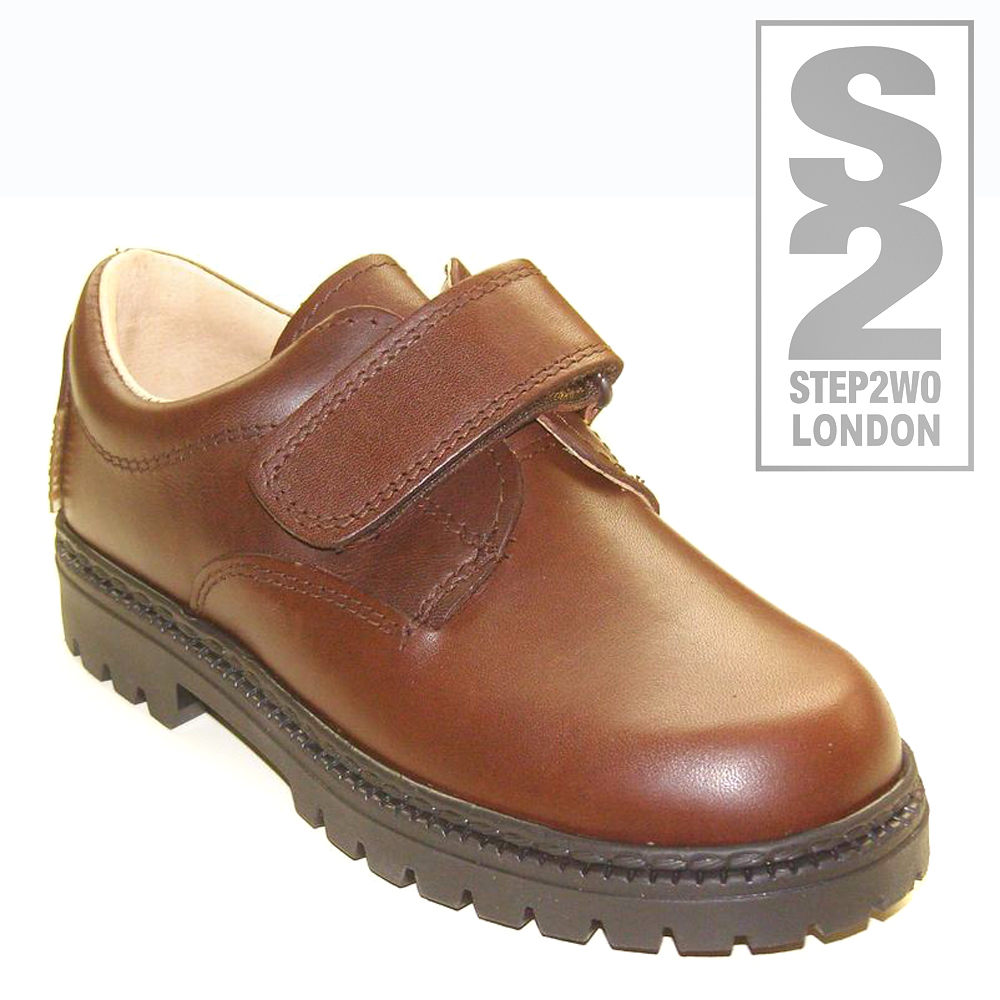 step2wo boys school shoes brown leather