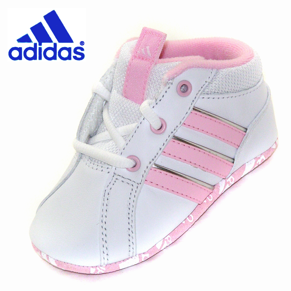Baby Adidas Crib Shoes White Pink Leather