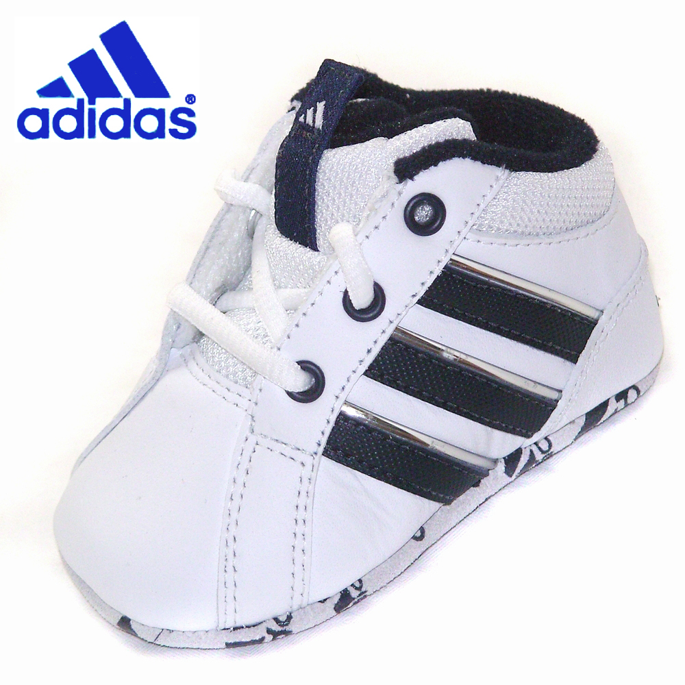 Baby ADIDAS CRIB Shoes White Navy Leather