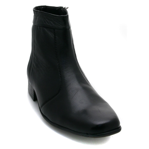 mens zip up pleated ankle black leather boots ebay