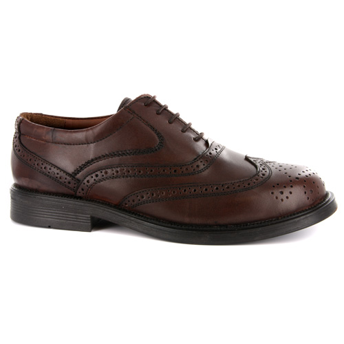 Details about Mens Quality Leather Wing Cap Brogue Oxford Brown Shoes