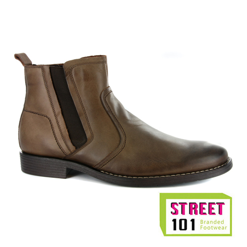 mens hush puppies timeworn brown leather chelsea boots uk