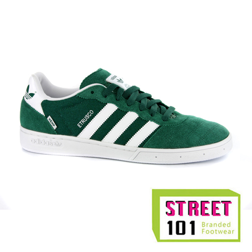 New Mens Adidas Etrusco Green White Suede Retro Trainers
