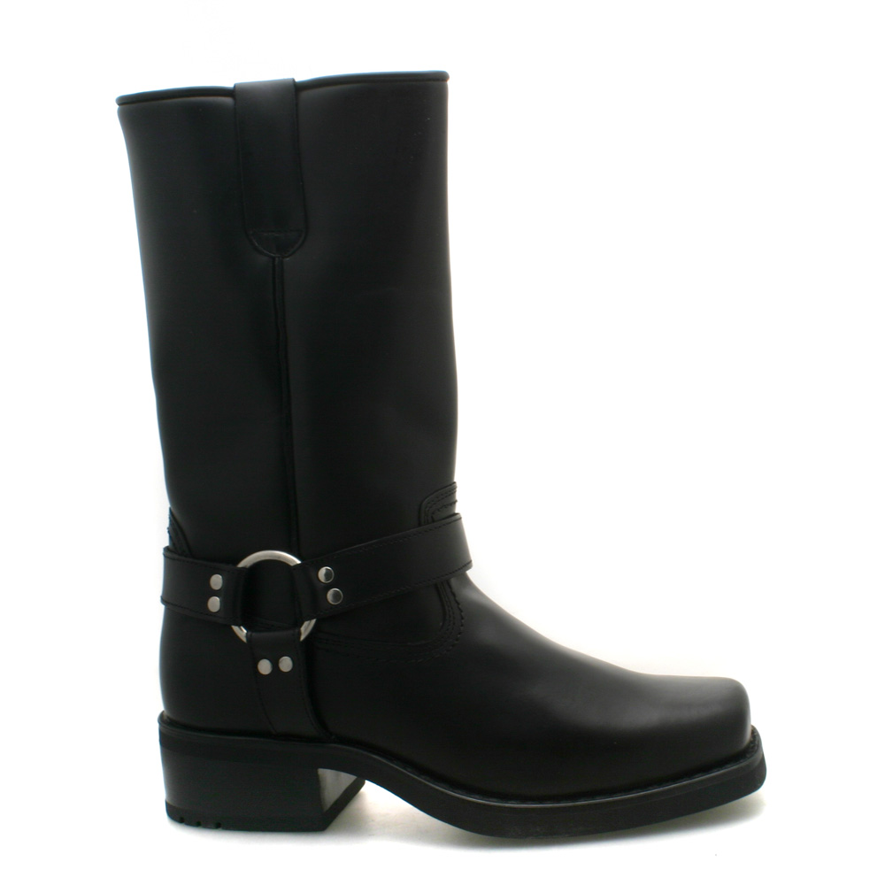mens western high harley black leather biker boots