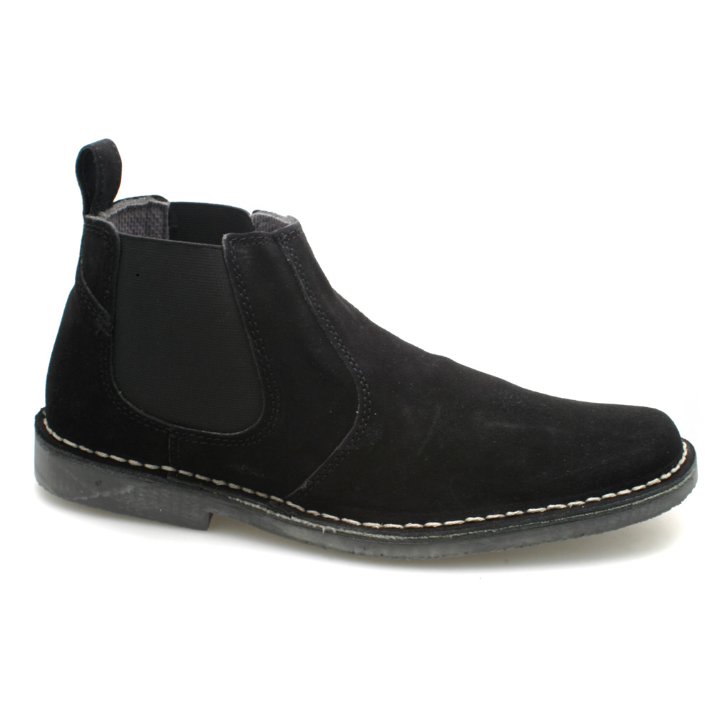 mens suede twin gusset black suede ankle chelsea boots. Black Bedroom Furniture Sets. Home Design Ideas