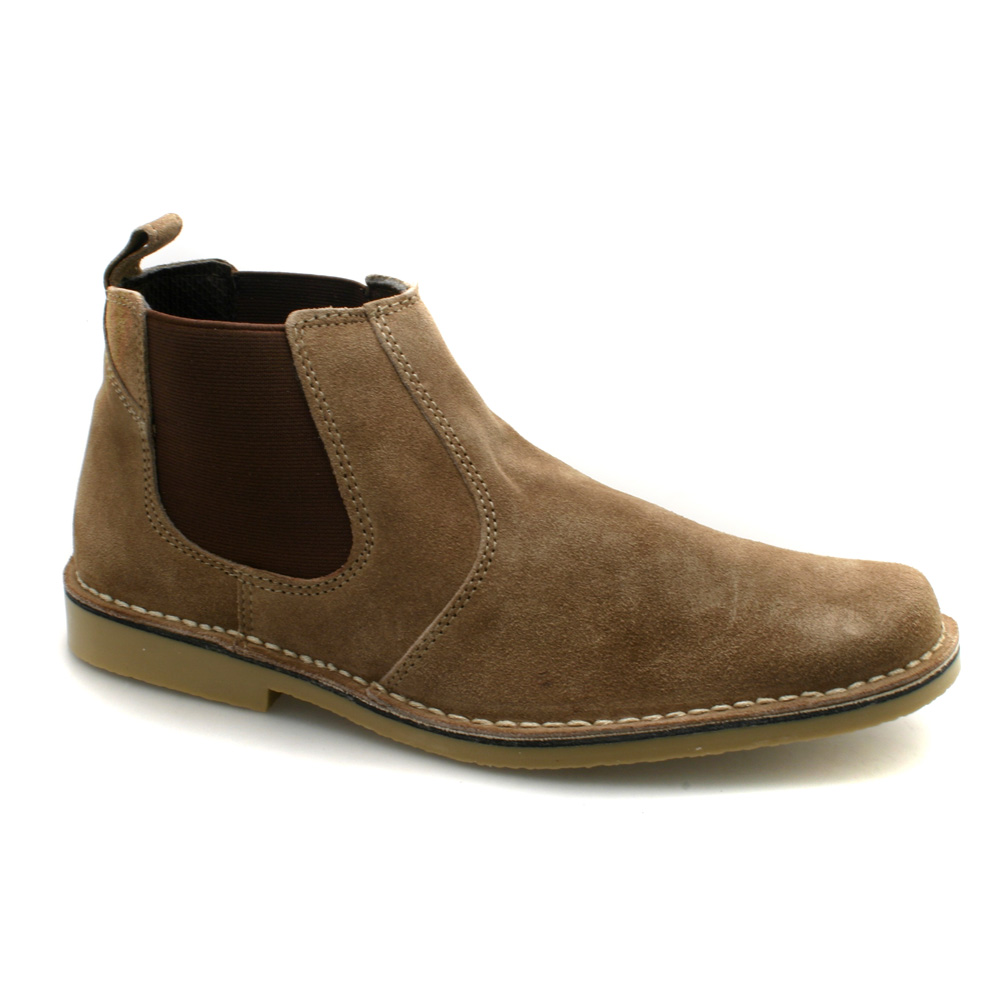 mens suede gusset brown suede ankle chelsea boots
