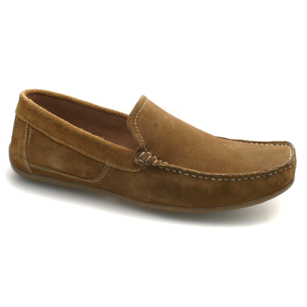 Mens Moccasin Brown Suede Driving Loafer Shoes
