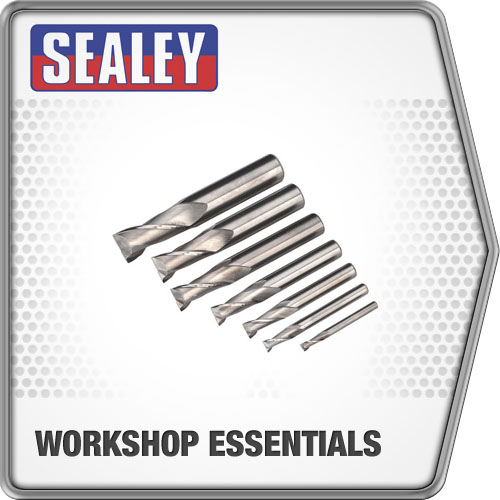 Sealey Hss End Mill Set Ø4-16mm 2 Flute Drilling & Milling Machine Accessories