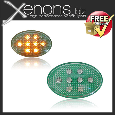2x Green Oval Universal Side Indicators with Amber LEDS Marker Light Bulbs 12v