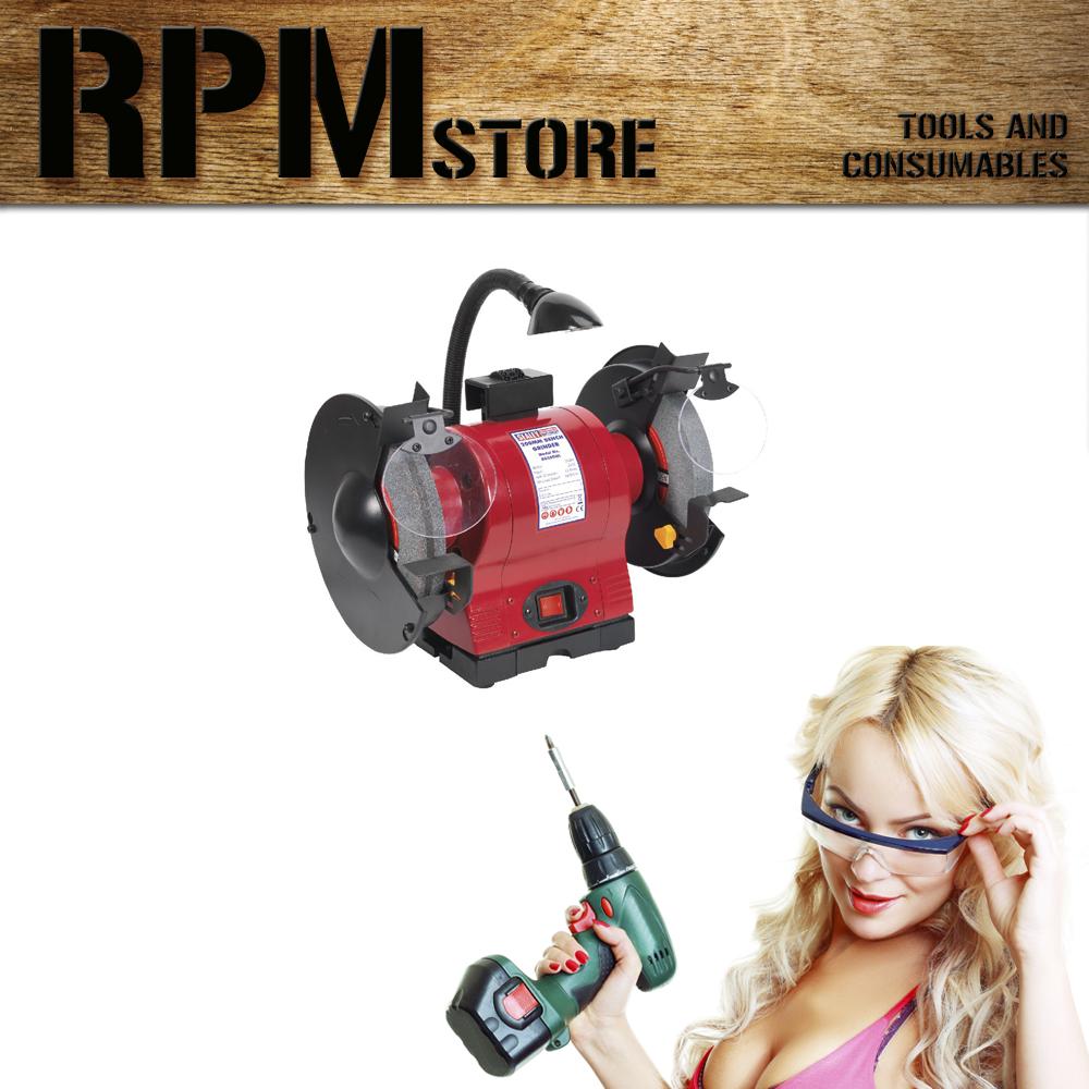 Sealey Bench Grinder 200mm With Work Light 550W/230V Grinders DIY Tools Garage