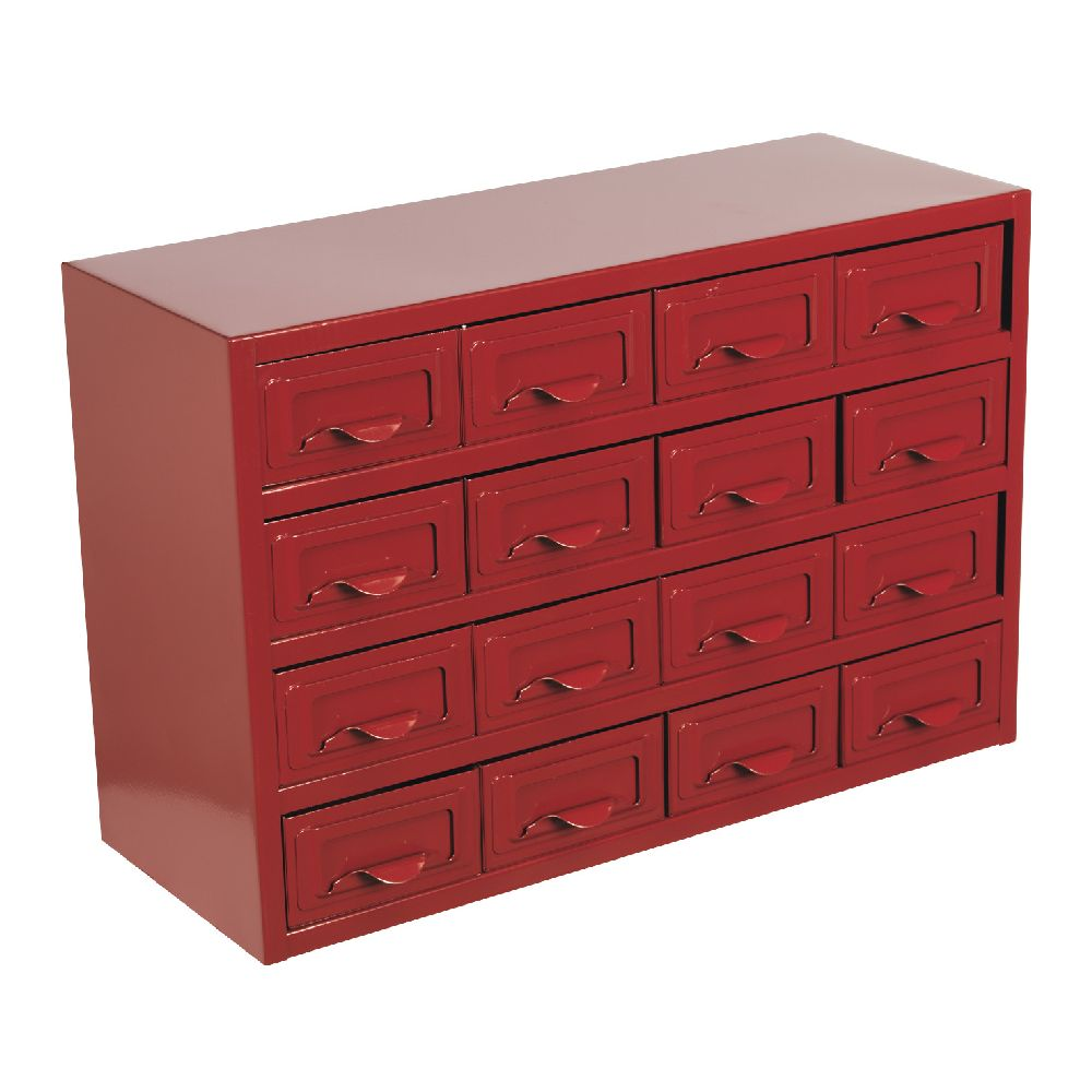 Sealey Metal Cabinet Box 16 Drawer Parts Storage Boxes, Compartment