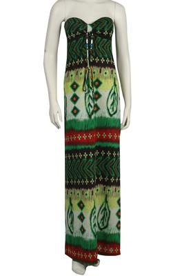 NEW-WOMENS-LONG-MAXI-GREEN-CASUAL-DESIGN-DRESS-SIZE-8
