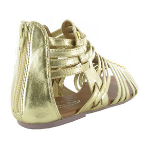 C05-LADIES-GOLD-PATENT-FLAT-GLADIATOR-SANDALS-SIZE-3-8