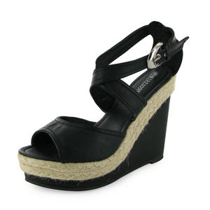 LADIES-NEW-WEDGE-BLACK-BUCKLE-STRAP-SHOES-SIZE-3-8-UK
