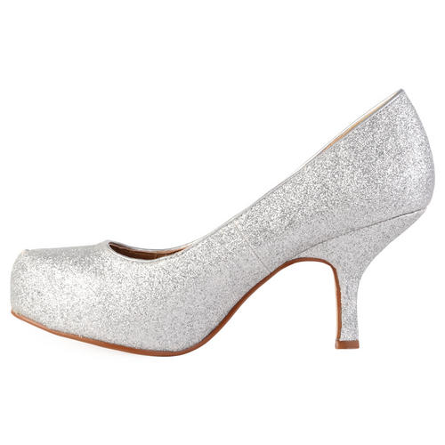WOMENS GLITTER LADIES SHIMMER PLATFORM STILETTO MID HEEL COURT ...