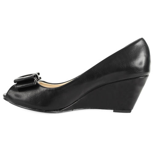 New Womens Bow Las P Toe Wedge Heel
