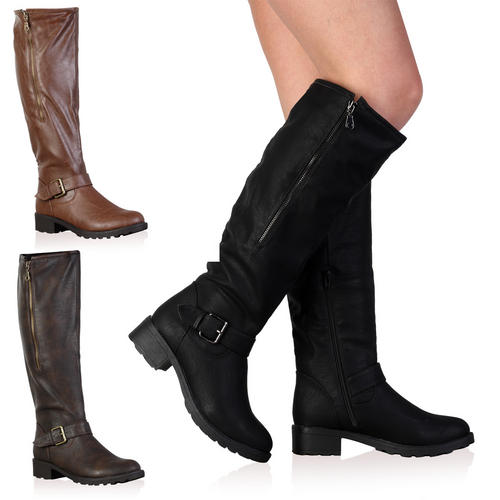 New Ladies Faux Leather Knee High Womens Long Winter Flat Riding ...