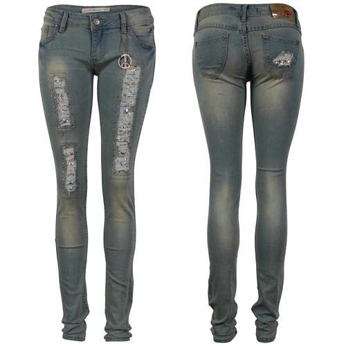 damen blaue frauen verzierte skinny enge zerrissene jeans. Black Bedroom Furniture Sets. Home Design Ideas