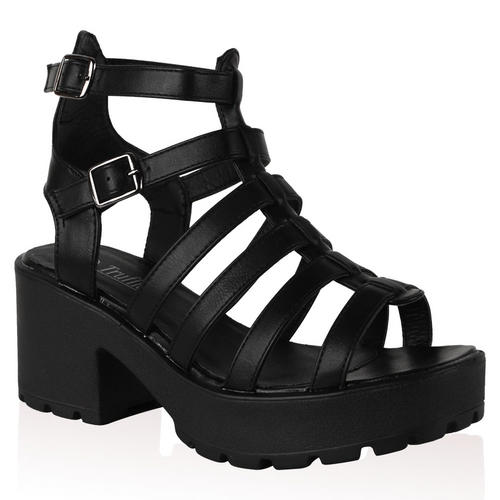 Ladies Gladiator Womens Platform Chunky Retro Block Heel CutOut