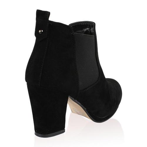 damen ankle boots mit blockabsatz und elastischem seiten