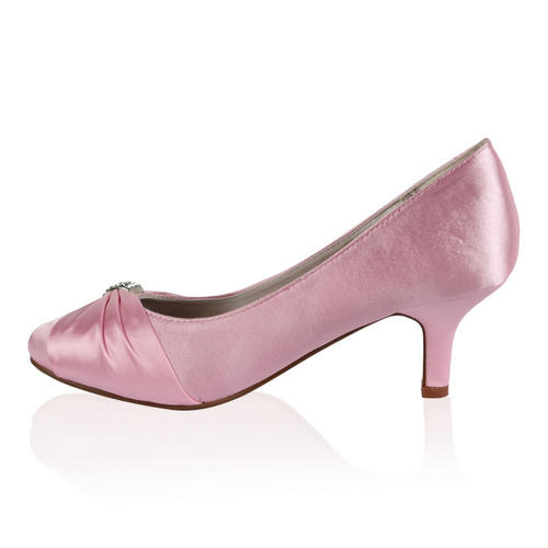 Pink Low Heel Wedding Shoes: Ladies Bridal Wedding Womens Low Heel Satin Ruched Bow