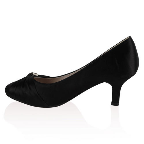 Ladies Bridal Wedding Womens Low Heel Satin Ruched Bow Court Shoes ...