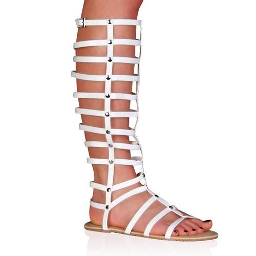 damen wei riemen flach hoch r mer gladiator sandalen gr 36 41 ebay. Black Bedroom Furniture Sets. Home Design Ideas
