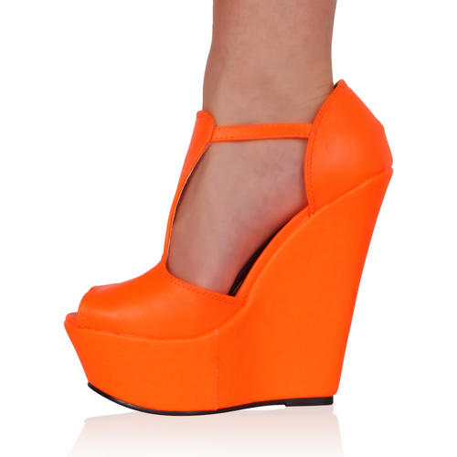 Sandales femme orange talon comp…
