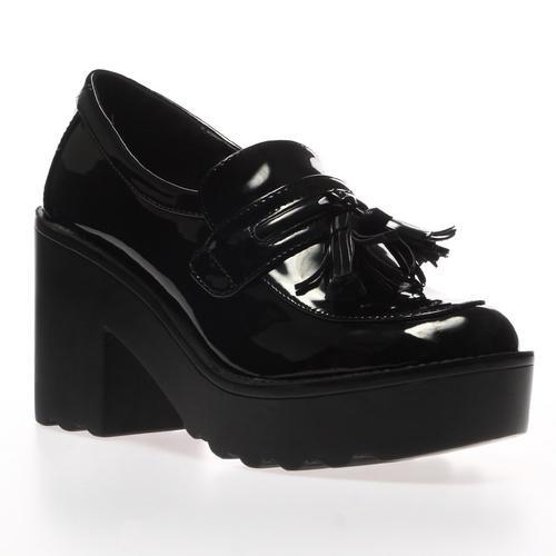 neue damen schwarze lack blockabsatz plateau high heel loafers schuhe gr 36 41 ebay. Black Bedroom Furniture Sets. Home Design Ideas