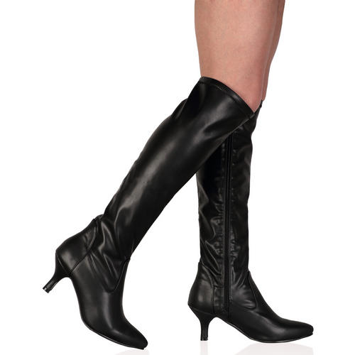 Ladies Knee Length Fitted Autumn Womens Kitten Heel Zip Boots