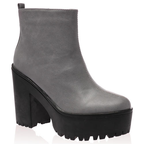 New Ladies Zip Up Womens Cleated Sole Chunky Heel Chelsea Boots ...