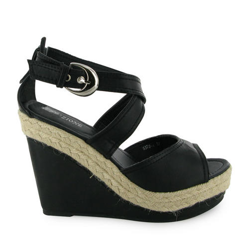 LADIES-NEW-BUCKLE-STRAP-BLACK-WEDGE-SHOES-SIZE-3-8-UK