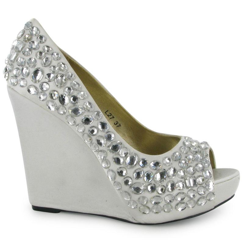 new womens silver diamante peeptoe wedge heels