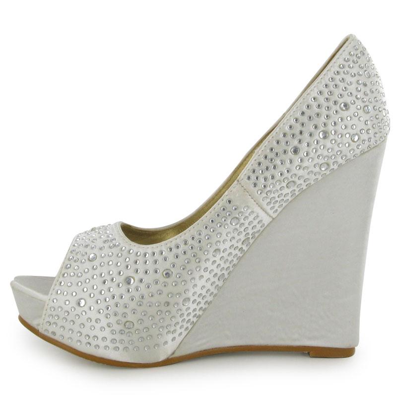 ivory diamante concealed platform wedge womens