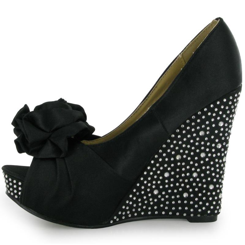 womens black satin peeptoe wedge heels formal