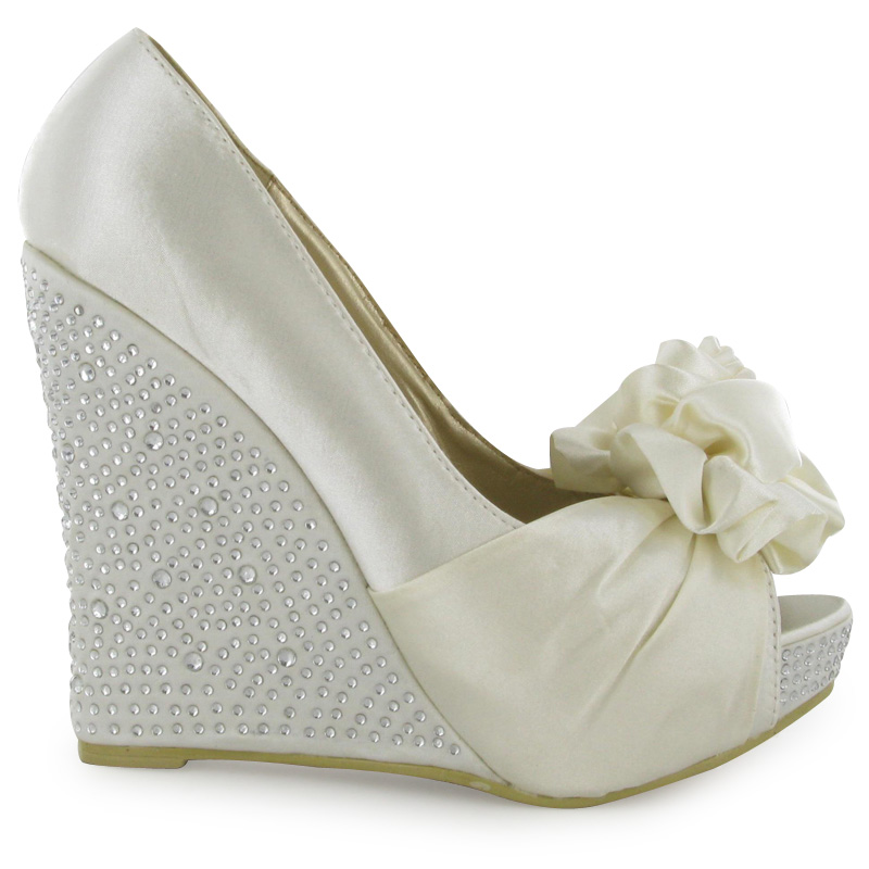 WOMENS DIAMANTE IVORY PEEPTOE WEDGE HEELED LADIES SATIN WEDDING SHOES SIZE 3 8