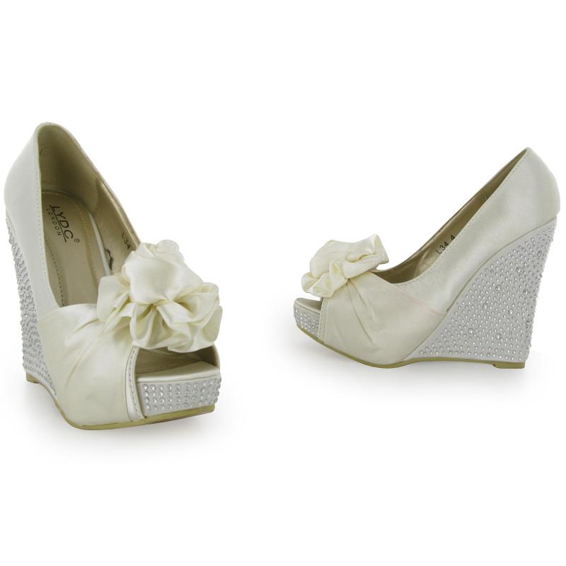 womens diamante ivory peeptoe wedge heeled satin