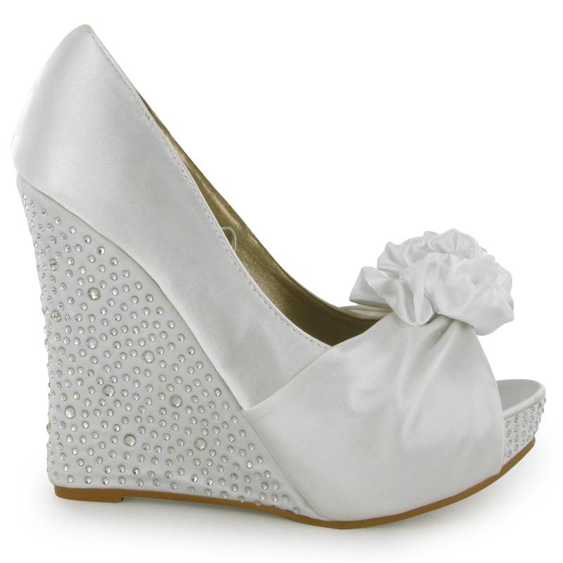 White Wedge Heel Wedding Shoes