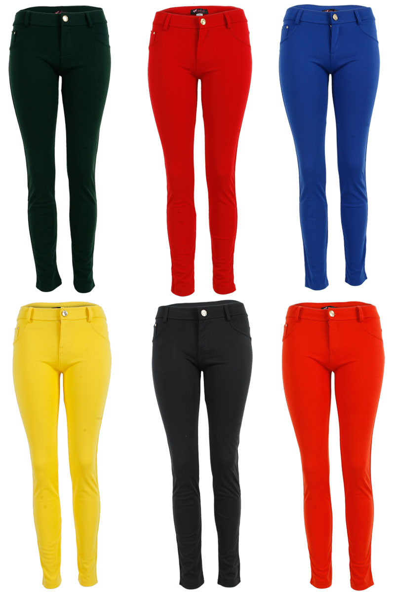 22D LADIES STRETCH SKINNY SLIM FIT WOMENS TROUSERS COLOURED JEGGINGS SIZE 8-14