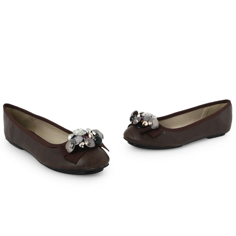 WOMENS BROWN FAUX LEATHER LADIES EMBELLISHED FORMAL FLAT ...