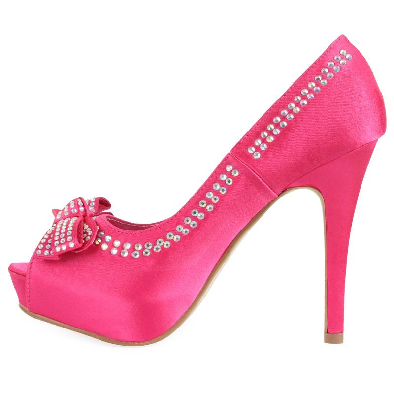 Fuschia Low Heel Wedding Shoes: NEW WOMENS SATIN FUSCHIA DIAMANTE BOW LADIES STILETTO HEEL