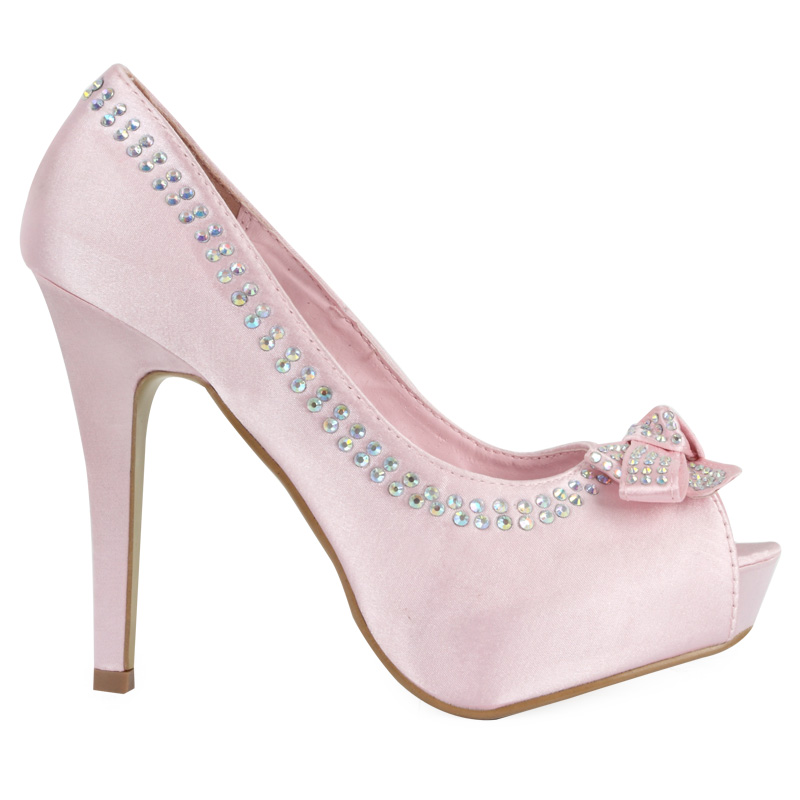new womens satin pink diamante bow stiletto heel