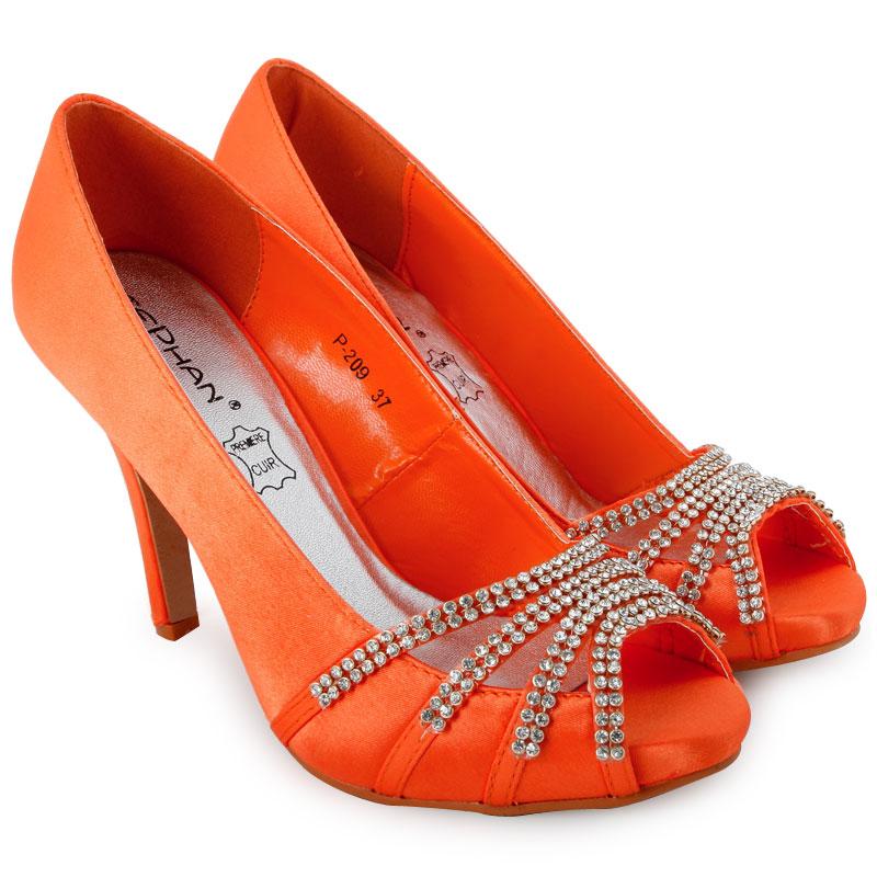 womens orange satin peeptoe stiletto heel ladies diamante