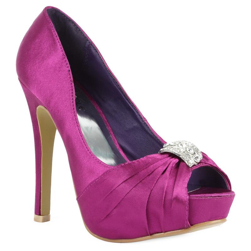 new purple satin womens diamante platform bridal