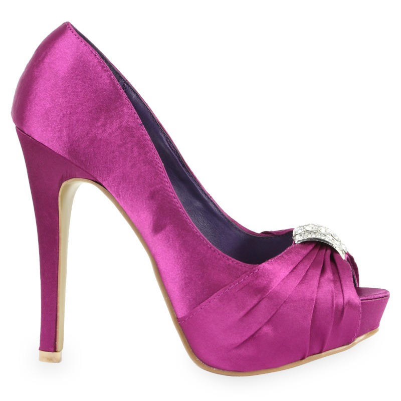new womens satin purple diamante platform bridal