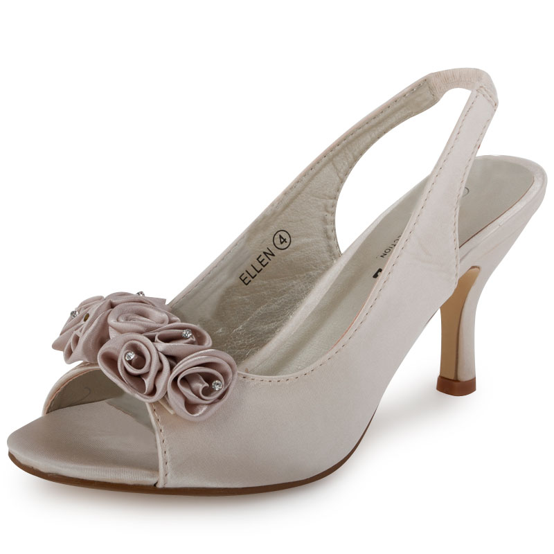 LADIES IVORY ROSE DIAMANTE BACKSTRAP WOMENS WEDDING BRIDESMAID SHOES SIZE 3 8 UK