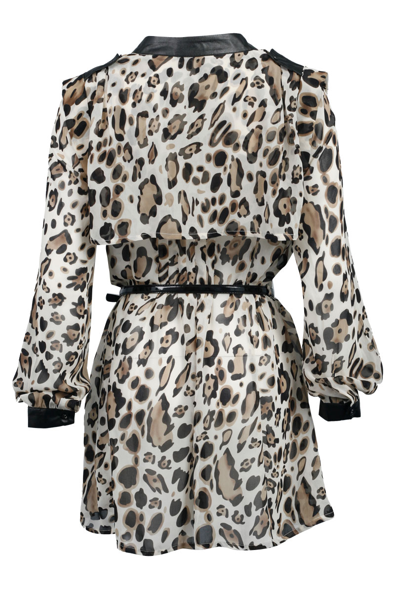 WOMENS CREAM EVENING LONG SLEEVE LADIES LEOPARD PRINT CASUAL DAY DRESS SIZE 8-14
