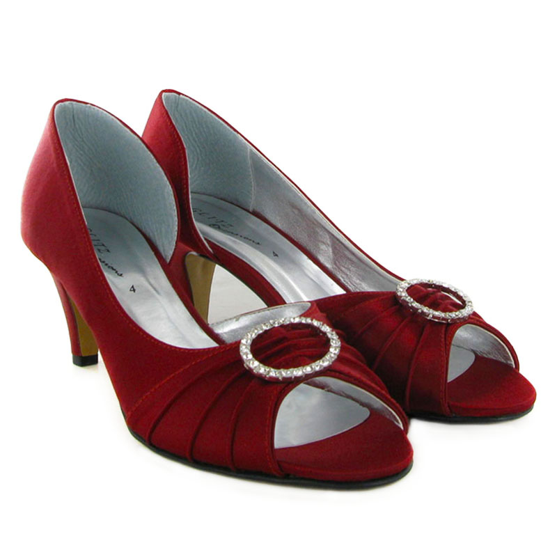 LADIES BURGUNDY FORMAL SATIN DIAMANTE LADIES BRIDAL KITTEN HEELS ...