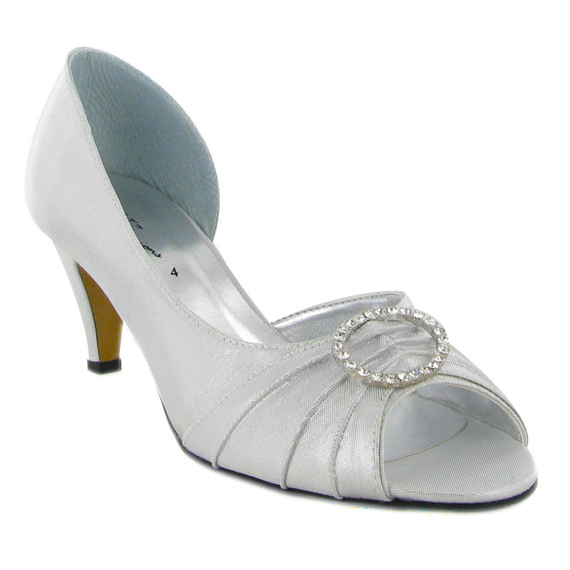 LADIES SILVER PEEP TOE SATIN KITTEN WOMENS WEDDING DIAMANTE HEELED