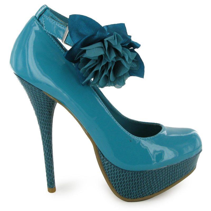 womens turquoise patent flower platform high heels